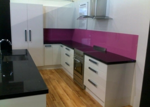 Light bottom, dark top, pink splashback