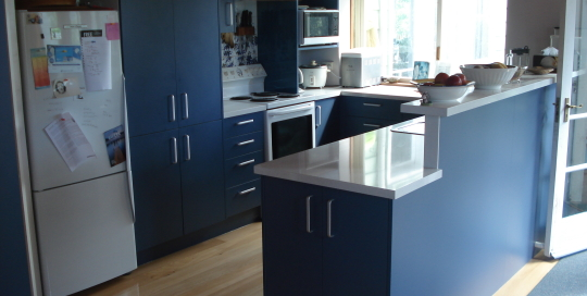 Blue Units, White Benchtop, provence blue