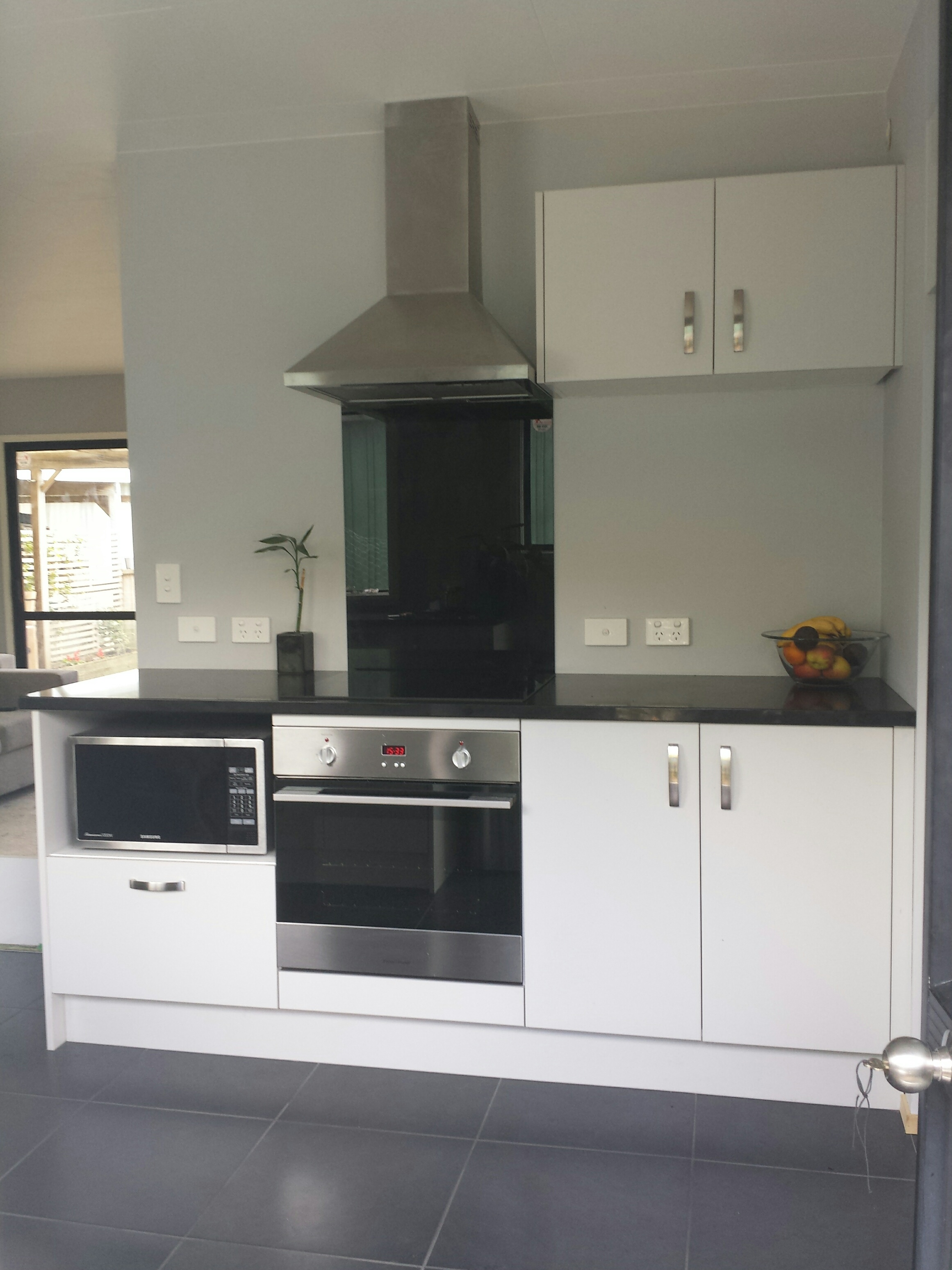 Grey units with engineered stone top