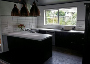 Black units with white benchtop