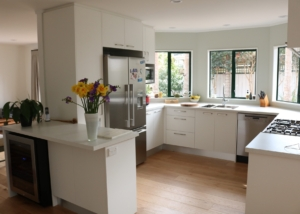 Light doors and benchtop, Timber Flooring