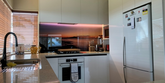 Acrylic White, Graphic Printed Glass, LED Lighting, Strip Handle